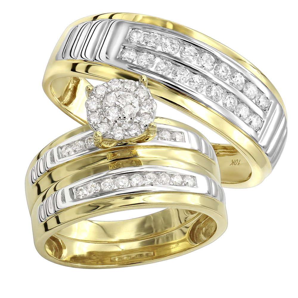 10k Gold Diamond Engagement Ring and Wedding Bands Set for His & Hers 0.8ctw (Yellow Gold, Size 7.5)