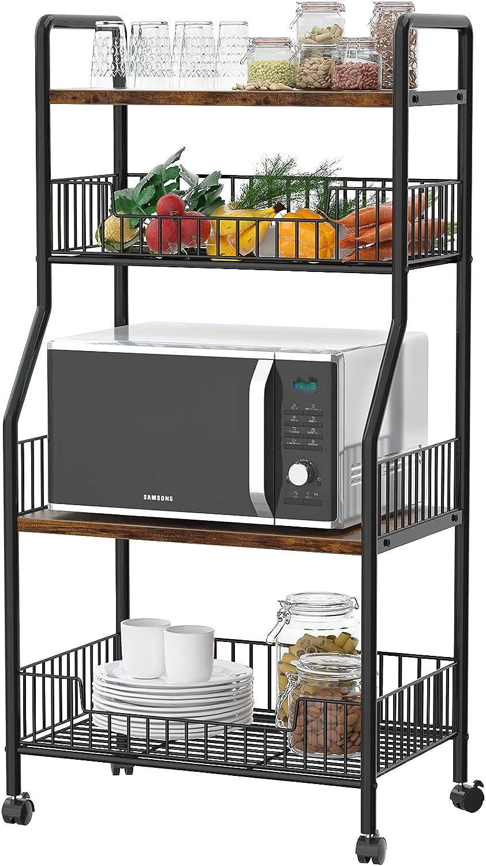 Kitchen Baker's Rack Microwave Stand Cart on Wheels with Large Metal Baskets, Utility Storage Shelf Rolling Cart Fruit Vegetable Kitchen Organizer Rack 4 Tier Shelves Multipurpose Organizer Shelf