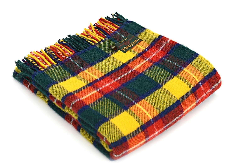 Bright Buchanan Tartan Wool Picnic Blanket BRITISH MADE