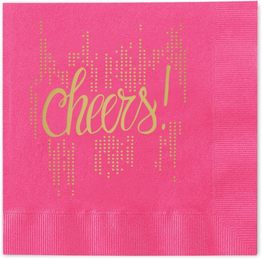Bubbly Cheers Beverage Cocktail Napkins - Set of 25 magenta pink paper napkins with gold foil