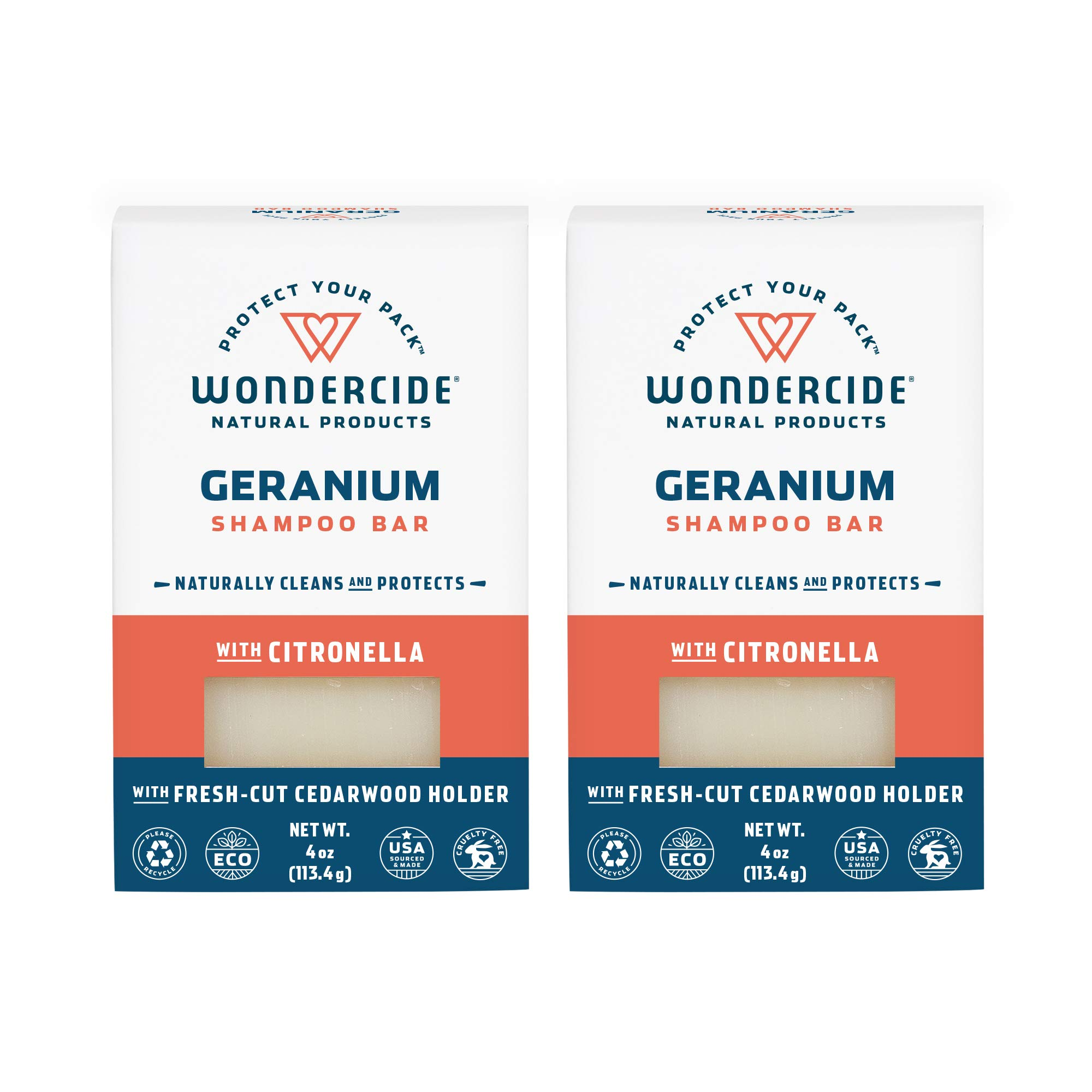 Wondercide Natural Flea & Tick Geranium Shampoo Bar for Dogs & Cats to Kill & Repel Fleas 4oz Bar - 2 Pack