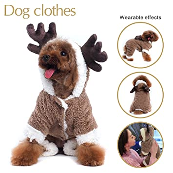 IREENUO Reindeer Design Dog Christmas Clothes Jumper Hoodie Puppy Jumpsuit  Outwear Dog Apparel Chirismas (M c8f06028d