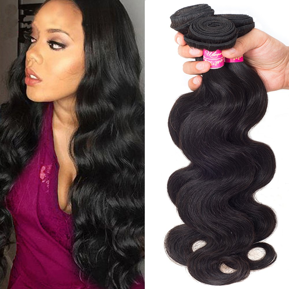 ULOVE HAIR Brazilian Virgin Hair Body Wave 3 Bundles 12 14 16 Size,Total:300g Remy Human Hair Weaves 100% Unprocessed Hair Extensions Natural Color (12 14 16Inch)