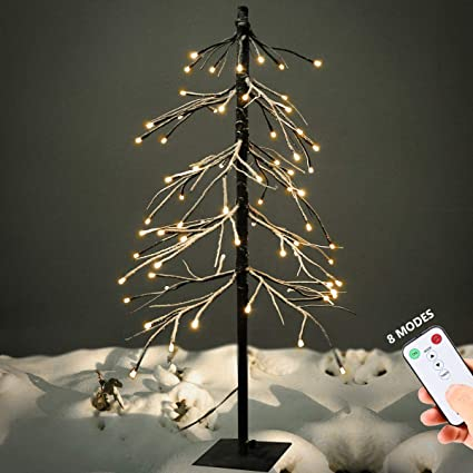 Amazoncom Yunlights 3ft Snow Dusted Tree Lights 75 Led Lights