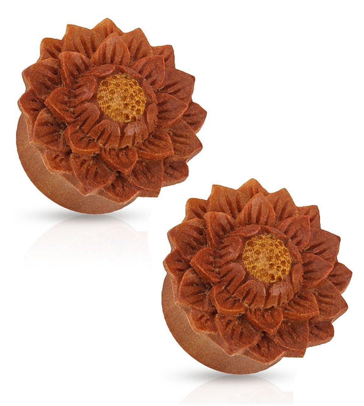 Lotus Flower Hand Carved Organic Jackfruit Tree Saddle Fit Plugs Ear Gauges - Sold As Pair (10mm - 00GA) Pierced Owl n/a