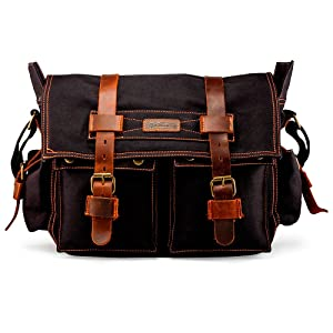 "GEARONIC Mens Canvas Leather Messenger Bag for 14"" 17"" Laptop Satchel Vintage Shoulder Rugged Military Crossbody Large Briefcase (14 inch, Black)"