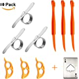 Orange Peeler Set Cosmer Stainless Steel Orange Peeler Easy Open Citrus Lemon Citrus Peel Cutter Vegetable Slicer Fruit Tools Kitchen Gadgets (10 Pack with bottle opener)