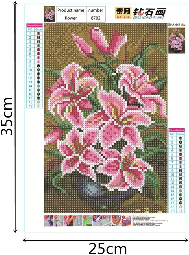 Bedroom Full Drill Cinhent 5D Diamond Painting Embroidery Rhinestone Pasted DIY Cross Stitch Home Gift 25 /× 30CM Wall//Door Art Decor Lily Pink Elegant Living Room