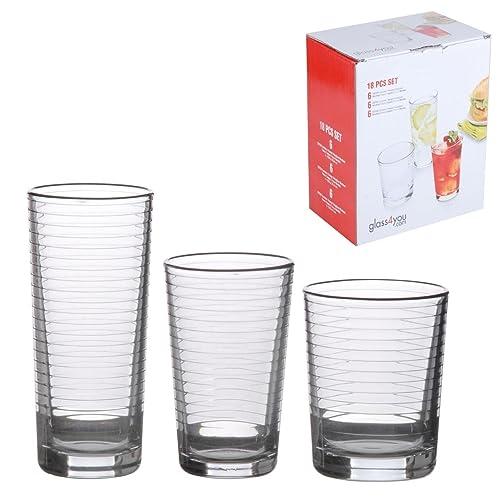 Cavendish Trading Drinking Glassware Set with Highball/Medium and Tumblers, Glass, Swirl Design, 18-Piece