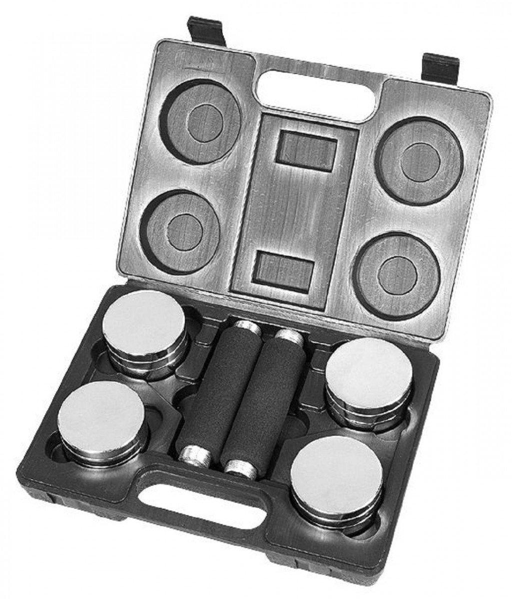 Dreams4Home maletín Set I - Pesas, discos, 4 x 0,25 kg, 2 x 0,5 kg, 2 pesas asas con revestimiento de espuma., peso aprox. 5 kg, en maletín de plástico, ...