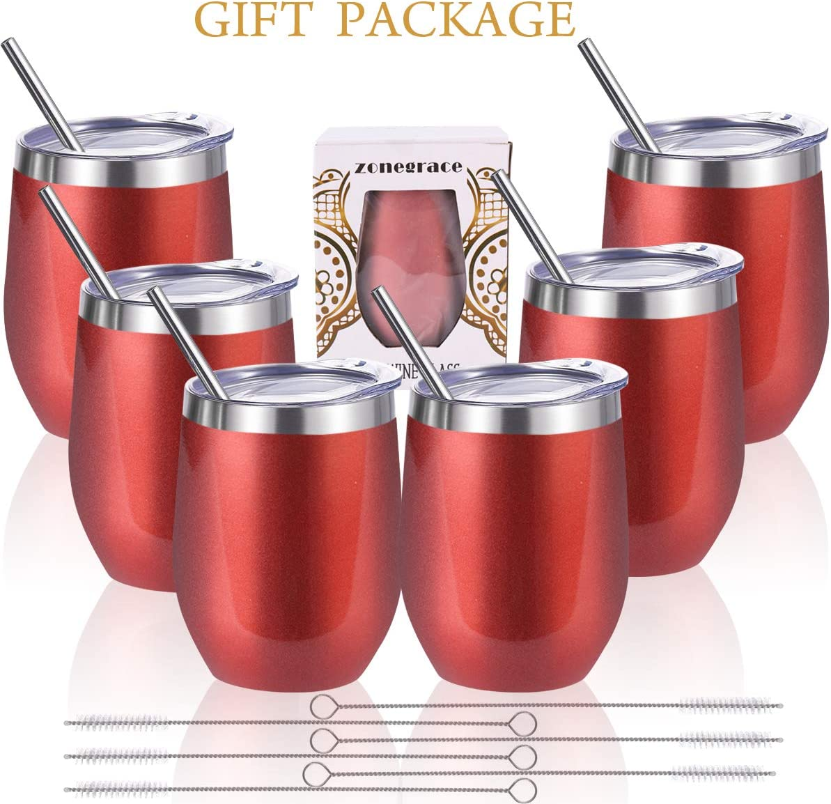 Zonegrace 6 pack Rose Gold 12 oz Stainless Steel Stemless Wine Glass Tumbler Double Wall Vacuum Insulated Bulk Wine Tumbler with Lids Set of 6,Gift Pack for Coffee, Wine, Cocktails, Including 6 Straws