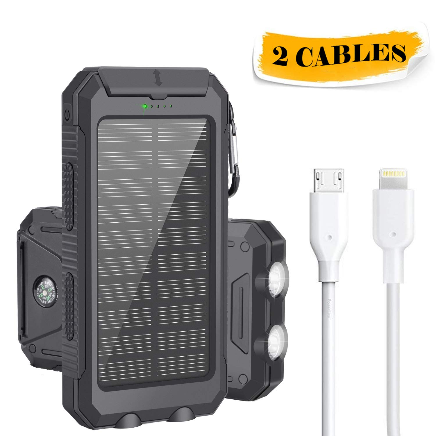 Solar Charger, LSXD Solar Power Bank 10000mAh Waterproof Portable Solar Charger, Dual USB External Backup Battery Pack with 2 Flashlights Carabiner and Compass for Travelling, Hiking, Emergency Use M-deal CIW06
