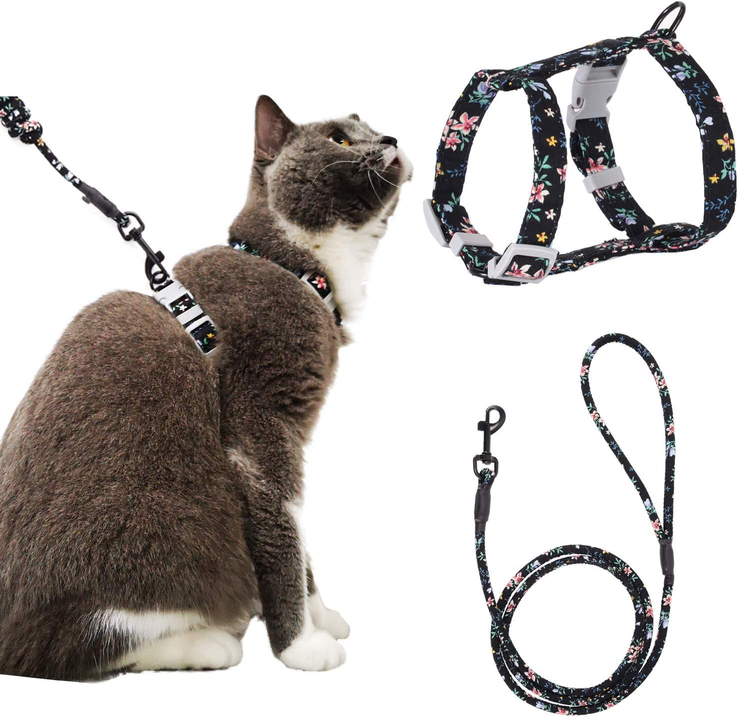 Happy Hachi Cat Lead Adjustable Cat Harness And Lead Set Soft Escape Proof H Style Harness Kitten Leash Walking Rope Black S Amazon Co Uk Pet Supplies