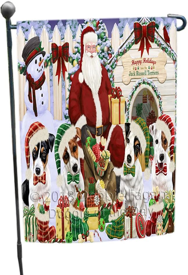 Happy Holidays Christmas Jack Russell Terriers Dog House Gathering Garden Flag GFLG51393
