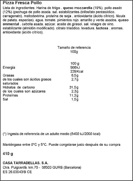 Casa Tarradellas - Pizza Fresca Pollo Asado, 410 g: Amazon.es ...