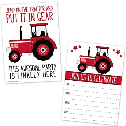 amazon com red tractor birthday party invitations for boys farm