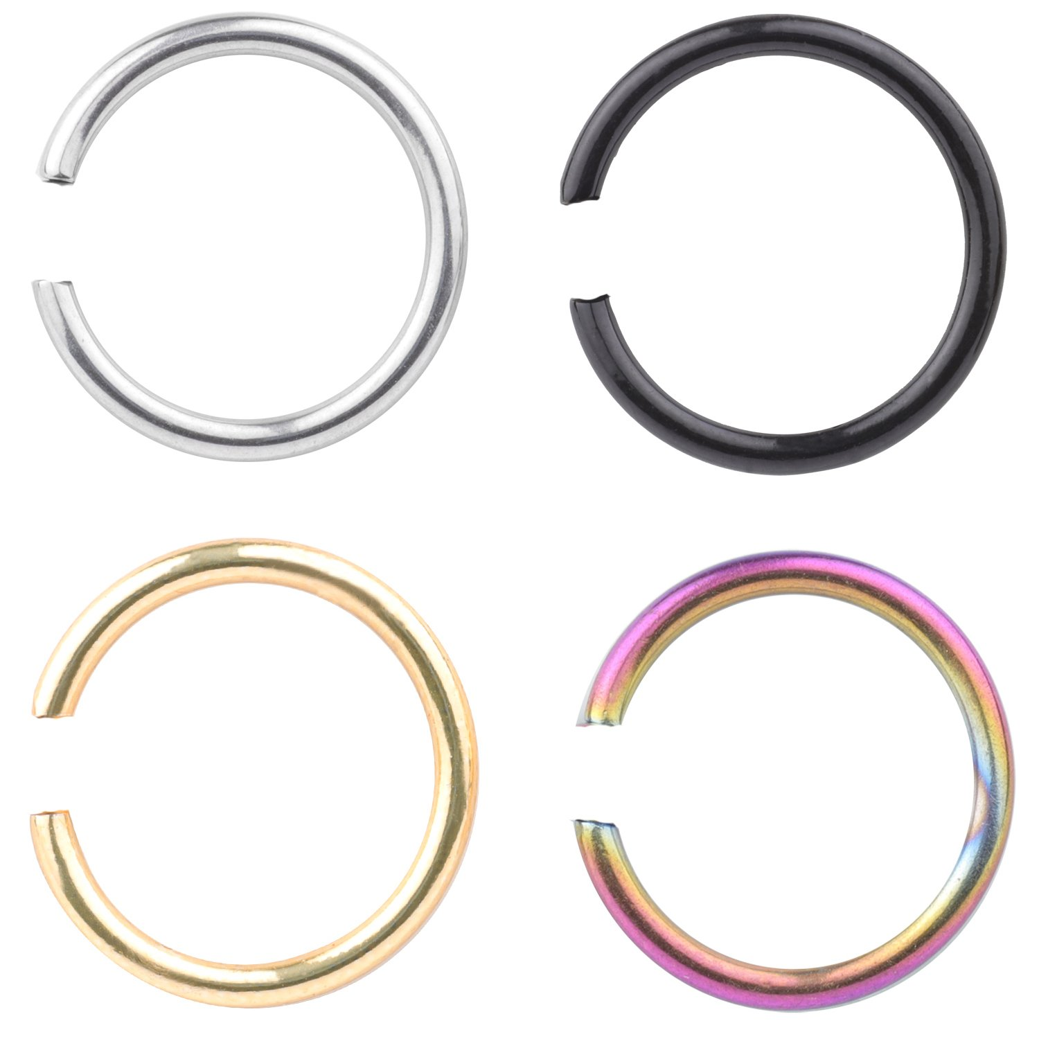 16G Surgical Stainless Nose Ring Hoop Cartilage Hoop Body Jewelry Piercing for Ear Cartilage Lip Nose 8mm