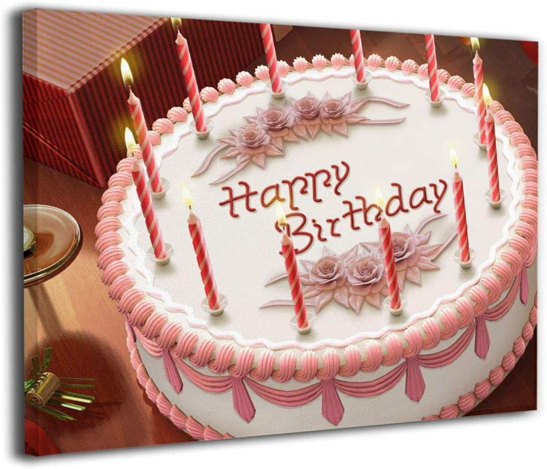 Surprising Amazon Com Dmn Wall Art Prints Birthday Cake Paintings Picture Funny Birthday Cards Online Hendilapandamsfinfo