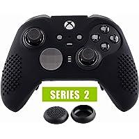 eXtremeRate Cover Skin per Xbox One Elite Controller Series 2, Custodia Protettiva in Silicone con Gommini Coprilevette Analogiche Thumb Grips Antiscivolo per Xbox One Elite V2 Joystick(Nero)