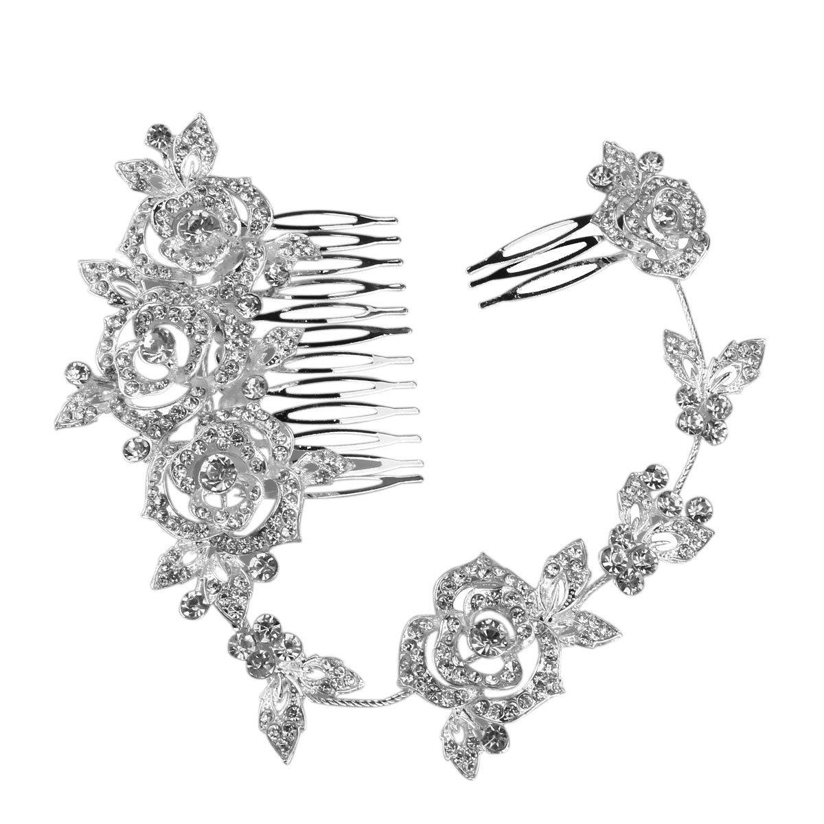 PIXNOR Da sposa cristallo strass capelli pettine TRTAZ11A