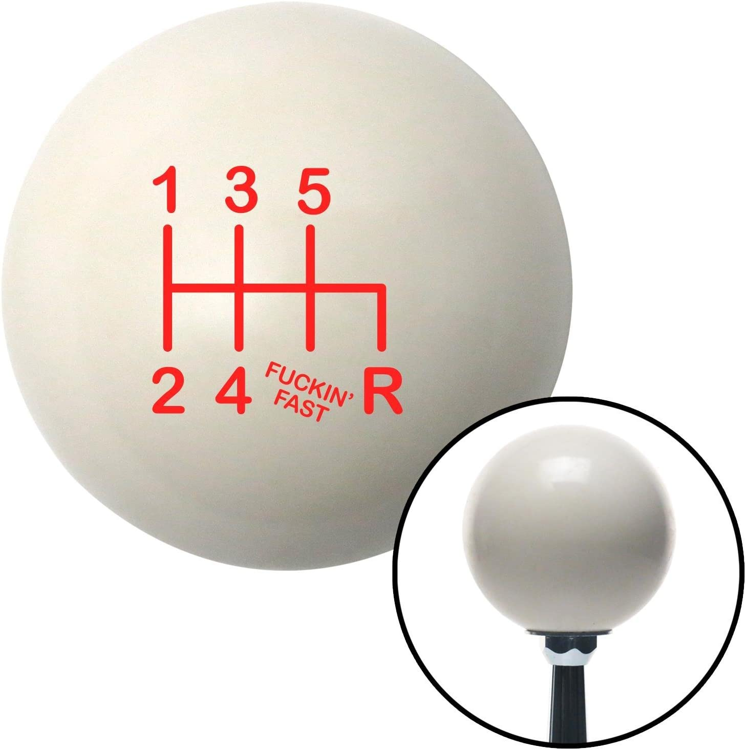 American Shifter 77019 Ivory Shift Knob with M16 x 1.5 Insert Red Shift Pattern Fcking Fast Style 41n