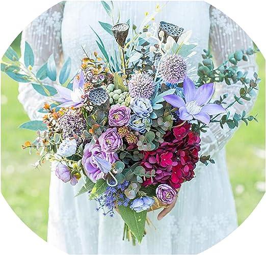 Amazon Com Romantic Wedding Flowers Bridal Bouquets Purple