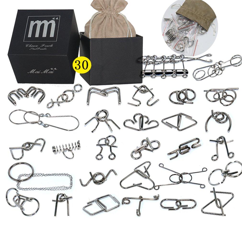 BrilliantDay 30 Piezas Juguetes educativos Alambre de metal IQ Esp/íritu Prueba Rompecabezas Rompecabezas Mente juego para adultos y ni/ños Juguetes