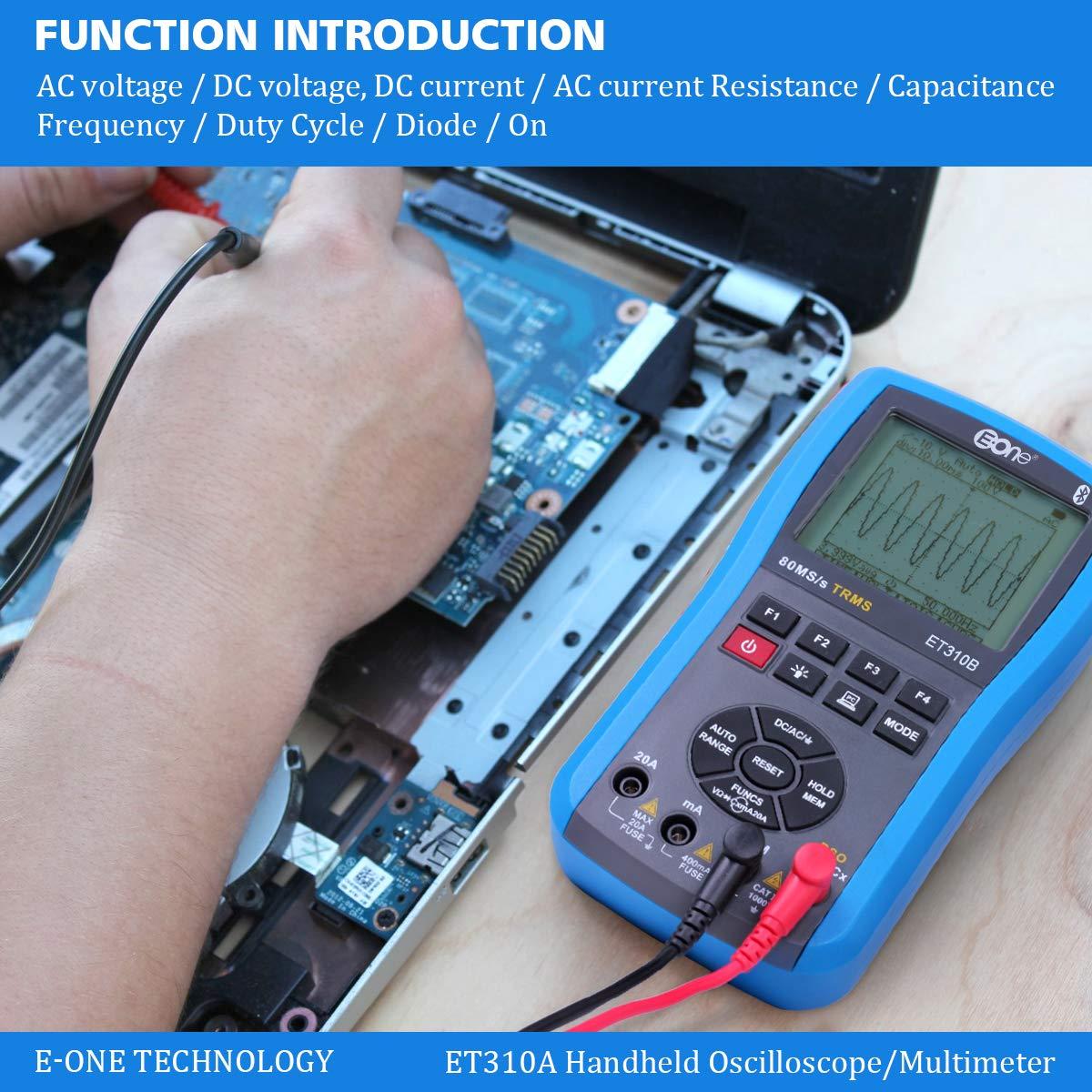 EONE Bluetooth Osciloscopio Mult/ímetro Ohmmetros 3 en 1 Manual autom/ática DC//AC voltaje corriente resistencia frecuencia de capacitancia; prueba diodos transistores con retroiluminaci/ón LED Tester
