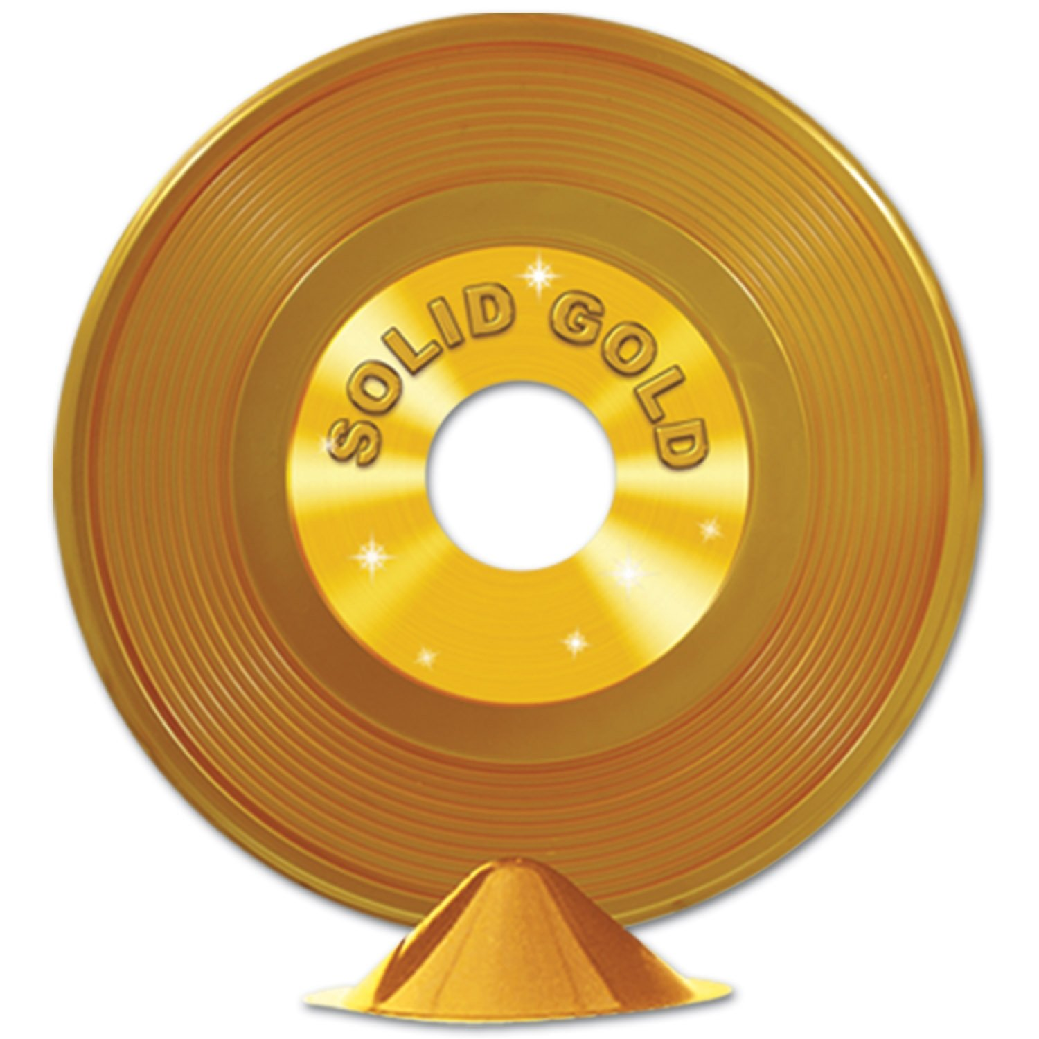 Beistle 57209 12-Pack Gold Plastic Record Centerpieces, 9-Inch