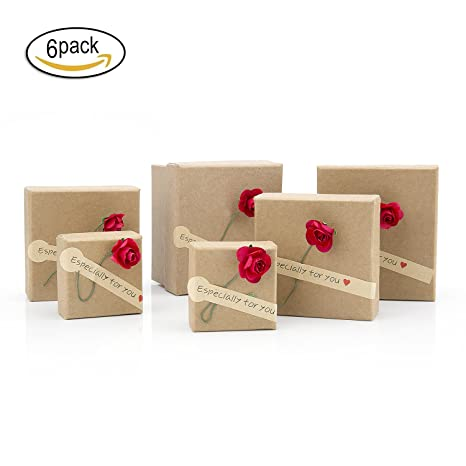 ZeWoo Set de 6 Cajas de regalo, Hecho a mano papel kraft de papel secado flores decoradas cajas, rectangulares elegantes con lazo para presentación de ...