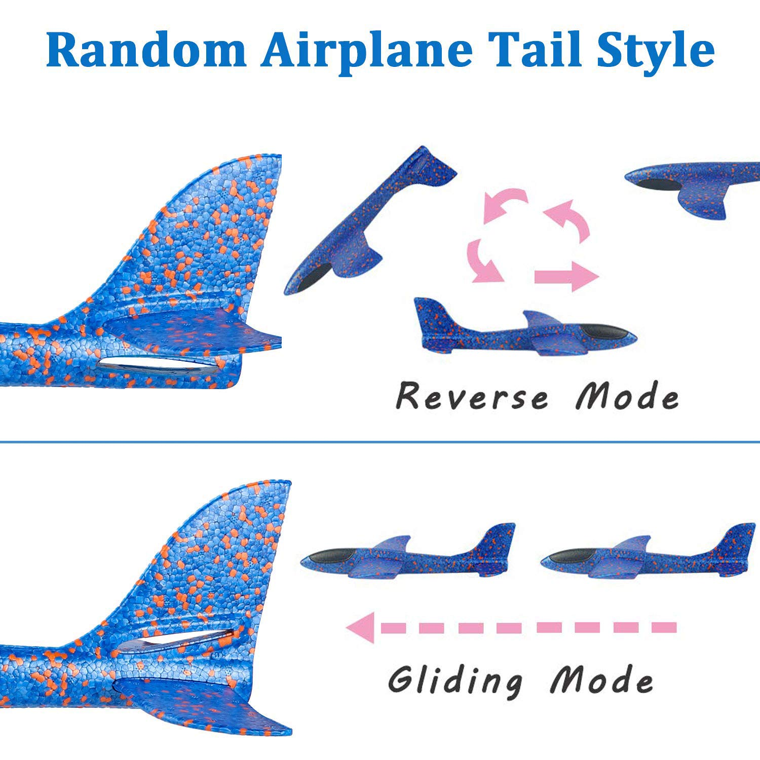 7 Pack Toy Airplane Glider for Kids, 2P 13.5'' Inch Throwing Foam Plane Kit Aircraft Jet+5P Toy Parachute Tangle Free Throwing, Outdoor Sports Flying Toys for Boys Girls Toddlers Teens Birthday Gift by iGeeKid (Image #5)