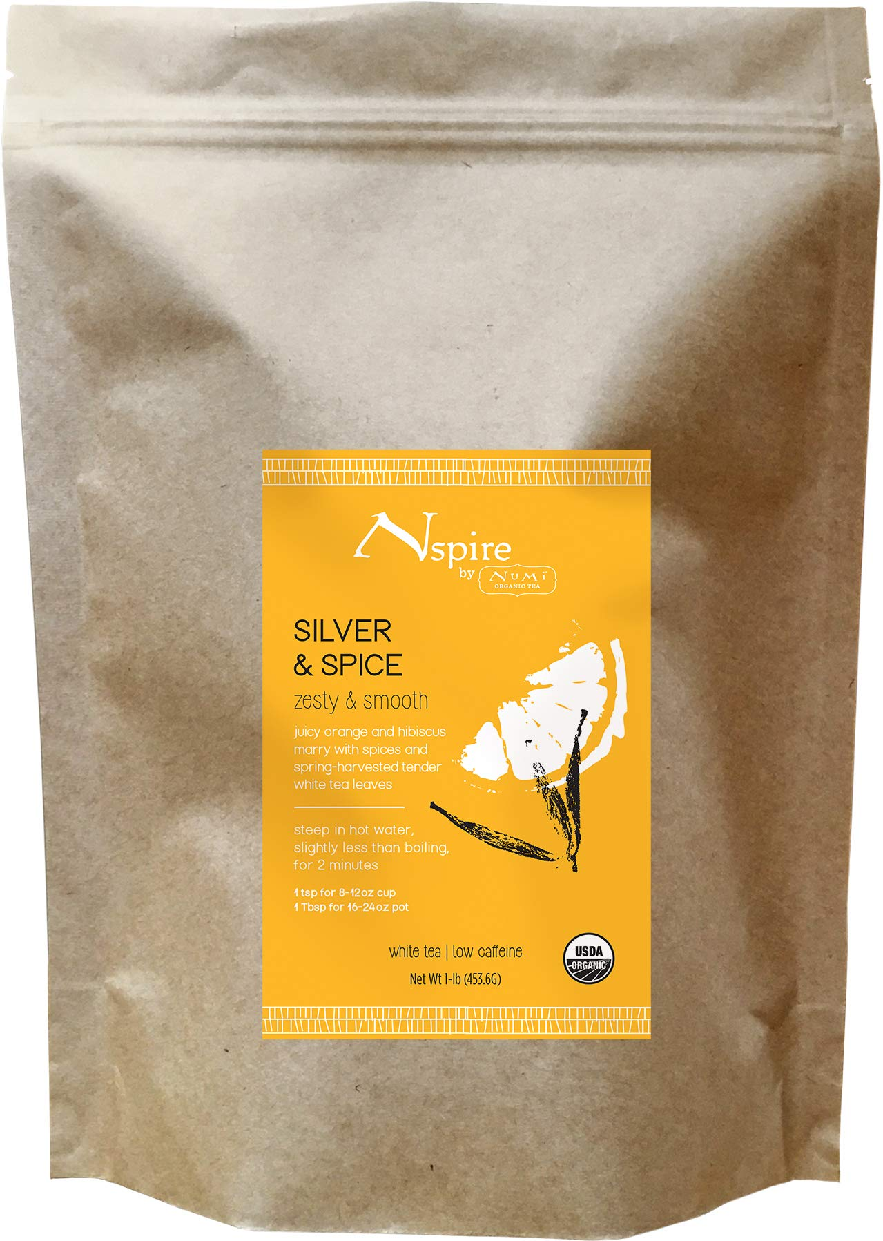 Nspire by Numi Organic Tea Silver & Spice, 16 Ounce Pouch, Loose Leaf White Tea