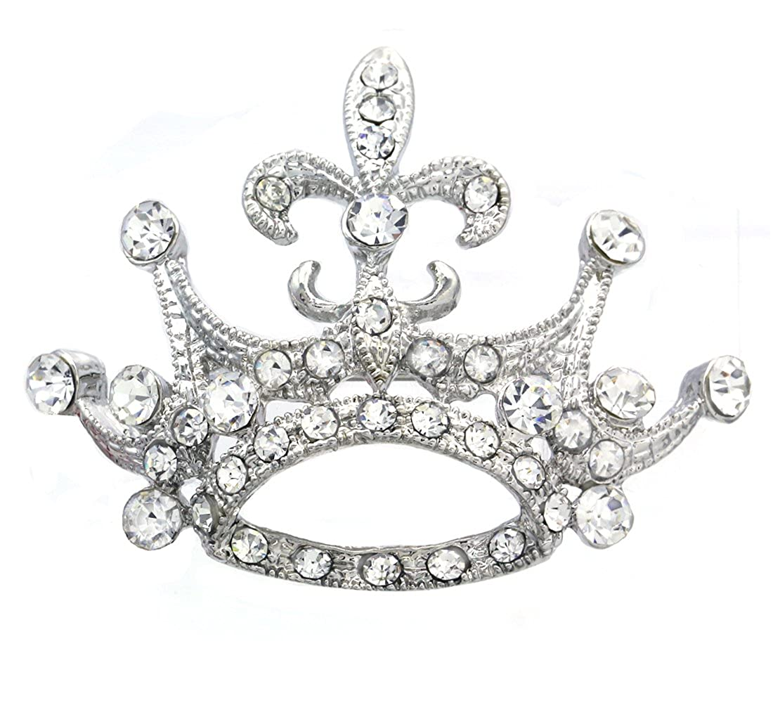 41b642c50e7 Amazon.com  Princess Crown Tiara Fleur De Lis Lily Flower Brooch Pin  Wedding Bridesmaid Clear Rhinestones Jewelry  Brooches And Pins  Jewelry