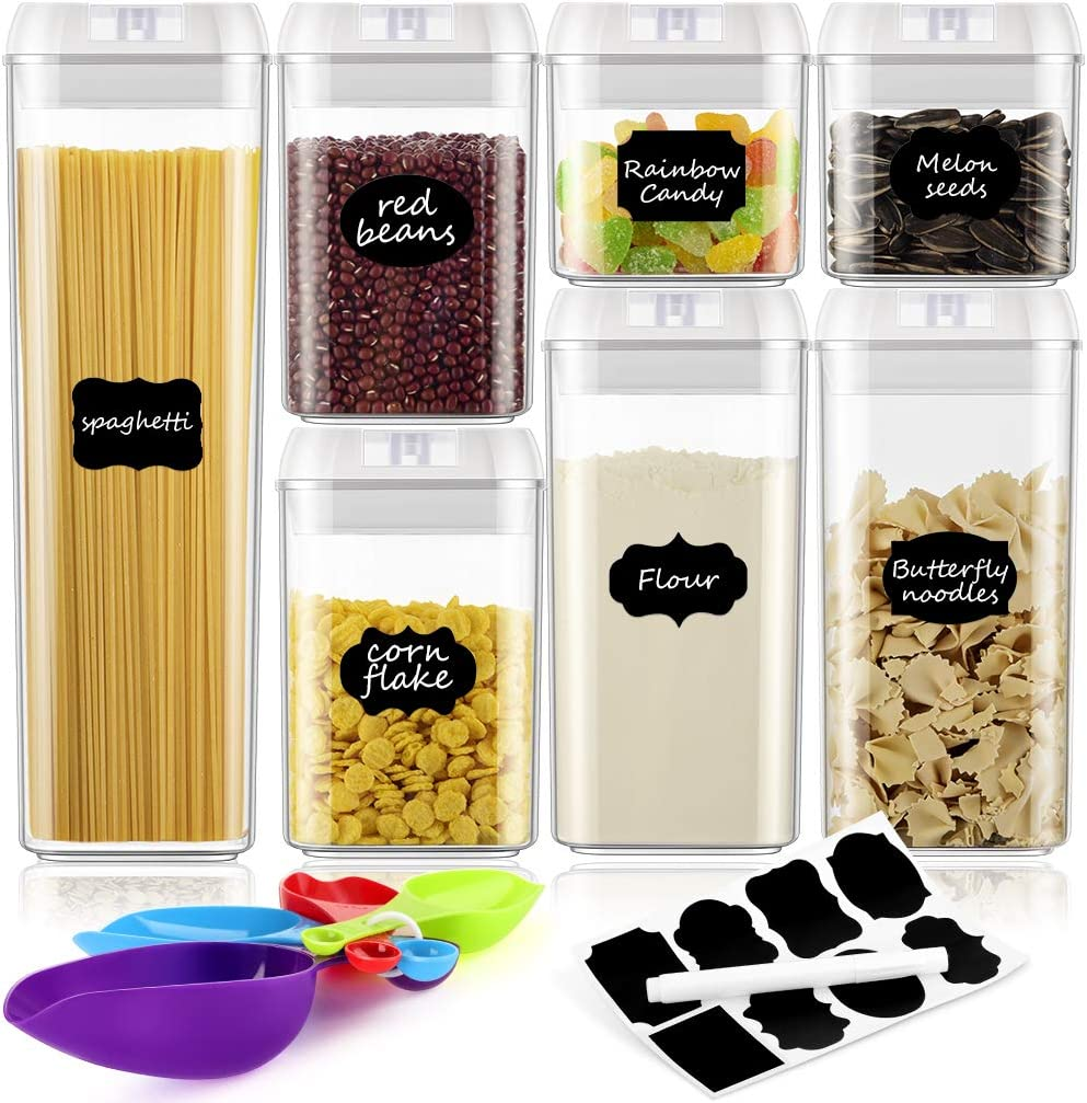 CUTUDE Airtight Food Storage Containers,7 Pieces BPA Free Plastic Cereal Containers (White)