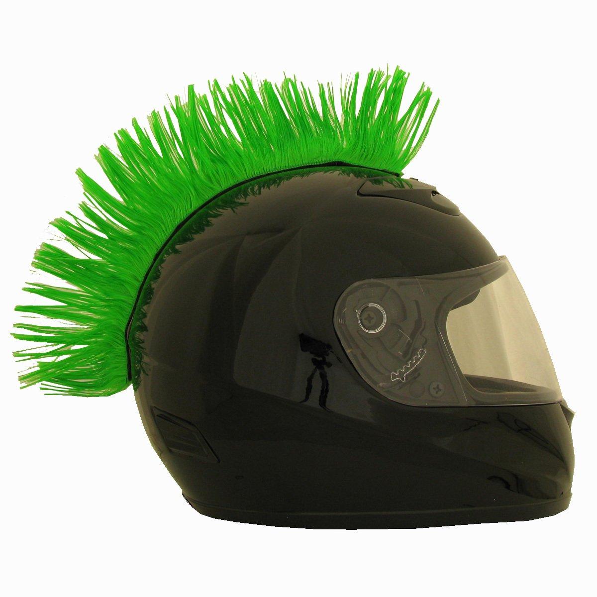 Motorcycle Ski Bicycle Helmet Mohawk Red Green Blue Black Helmet Hair (Green)