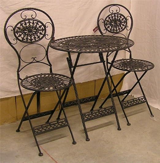 Casa Padrino Arte Nouveau Muebles de jardín Conjunto Viejo Negro - 1 Mesa, 2 sillas - Hierro: Amazon.es: Hogar