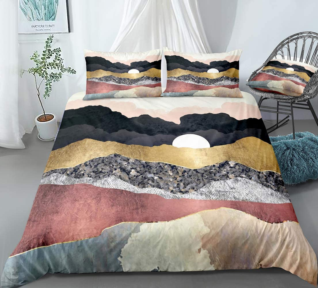 Marble Duvet Cover Set Mountain Bedding Sunset with Nature Mountain Printed Design Gold Black Boys Girls Bedding Sets Queen 1 Duvet Cover 2 Pillowcases (Queen, Marble)