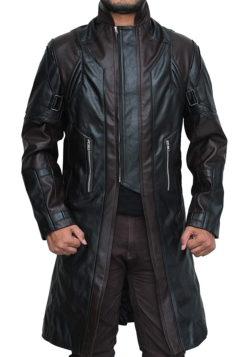 The Avengers: Hawkeye Brown and Black Real Leather Coat - DeluxeAdultCostumes.com