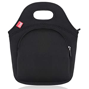 Black Lunch Bags with Pocket Reusable Neoprene Lunch Tote Thermal Insualted Lunch bag fo Adults Small Lunch Box for Work Outdoor Travel Picnic