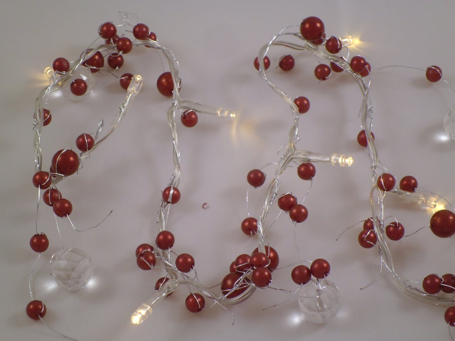 2M Pearl Beaded Garland 20 Warm White LED Lights (L70) Christmasshop