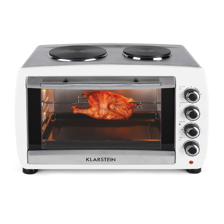 blanc Klarstein Omnichef 23HB Mini four 2 plaques de cuisson 1500W, 23L, r/égulateur temp/érature: max. 230 /°C, nombreux accessoires : grill, tournebroche, moule /à g/âteau