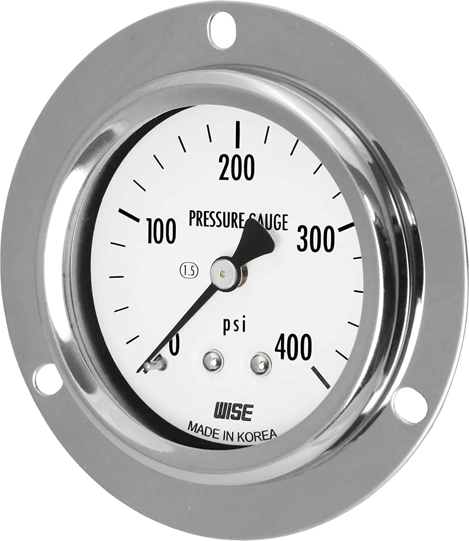 M 2 Dry Type Flush Center Back Connection WISE General Service Pressure Gauge P254 63mm 1//4NPT 0~200psi