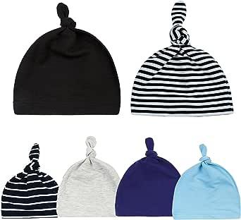 Sywwlov 6 Pack Unisex Newborn Baby Infant Beanie Hat Cotton Soft Cute Adjustable Knot Cap for Boys Girls
