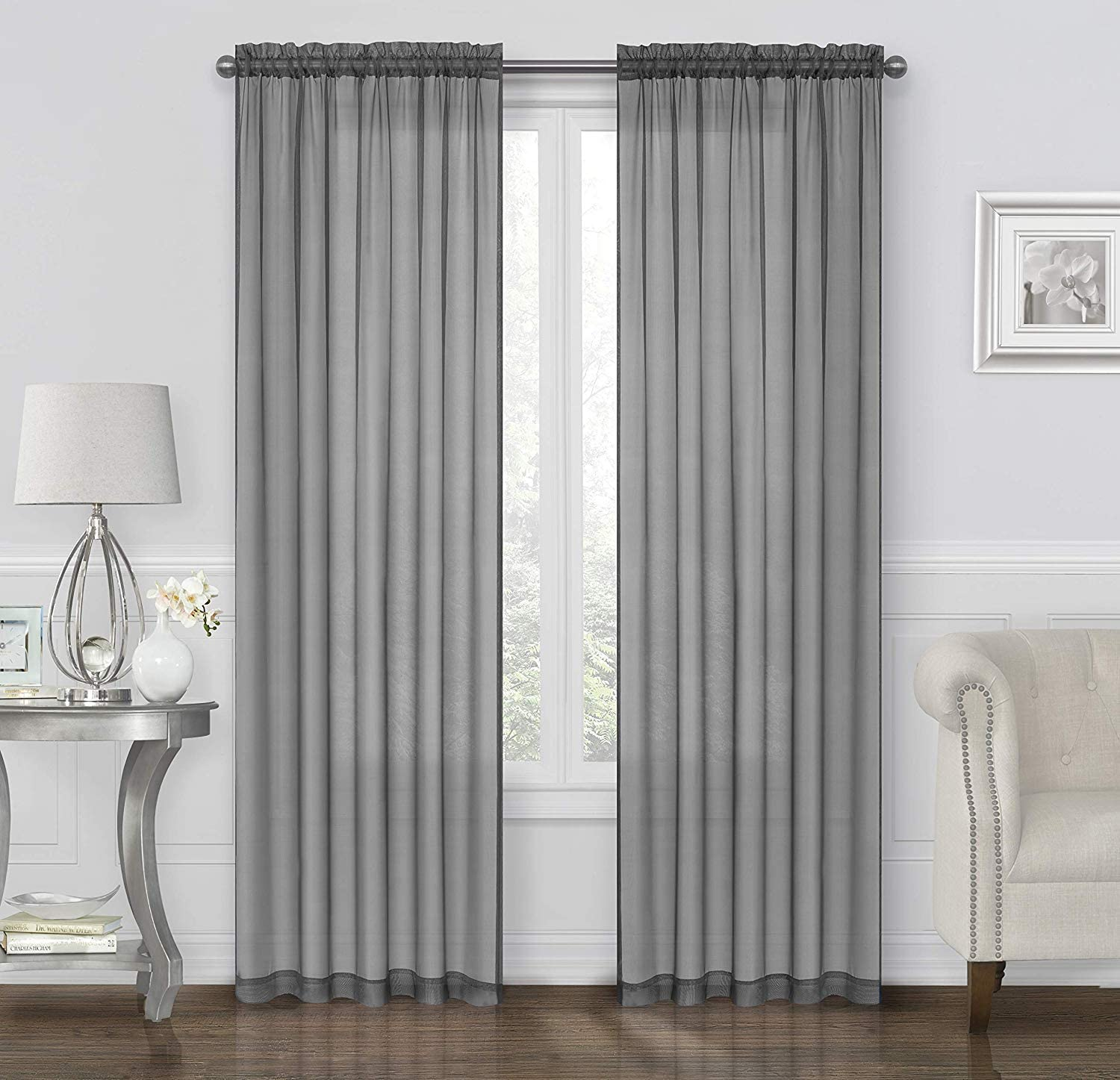 GoodGram 2 Pack: Ultra Luxurious High Thread Rod Pocket Sheer Voile Window Curtains Assorted Colors (Grey)