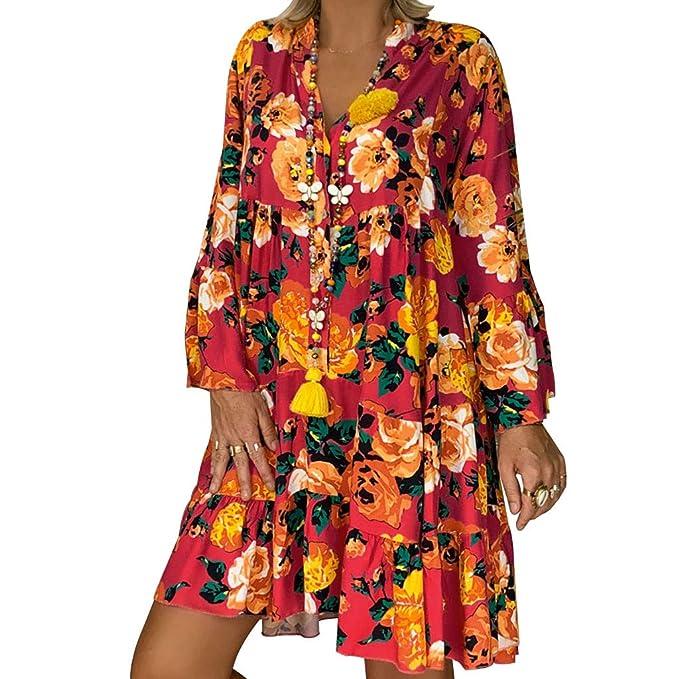 Clearance!! Plus Size Dress, Women\'s Loose Floral Print Mini ...
