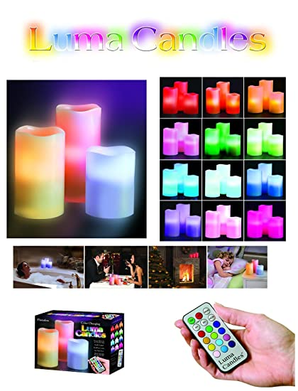 ASCENSION MagnusDeal Scented Luma Wax LED Candles with Remote - 3 Candle Set