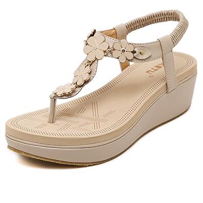 d0b8fecec Boho Women s Ladies Fashion Floral Peep Toe Ankle Strap Wedge Platform Sandals  Wedge Heel Slip On