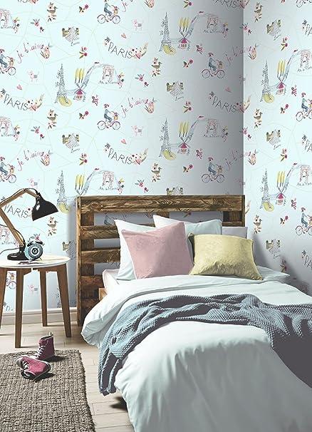Arthouse 696104 Paris With Love Wallpaper Duck Egg 53 Cm X 10 05