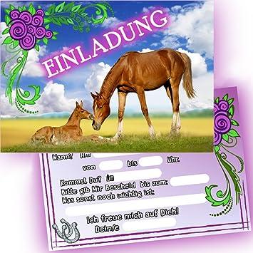 German Trendseller®   6 X Einladungskarten   Pferde   ┃ Kindergeburtstag ┃  Mitgebsel ┃ Mädchen