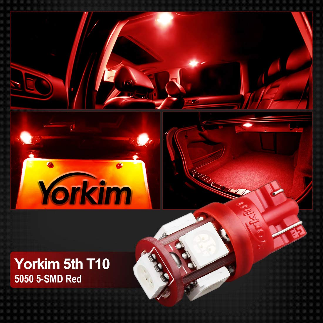 Red 194 LED Interior Lights for Car 168 LED Bulb Yorkim T10 LED Bulb Red 6000k Super Bright Newest 5th Generation Universal Fit Pack of 10 2825 LED Bulb Red Red T10 LED Bulbs W5W LED Bulb